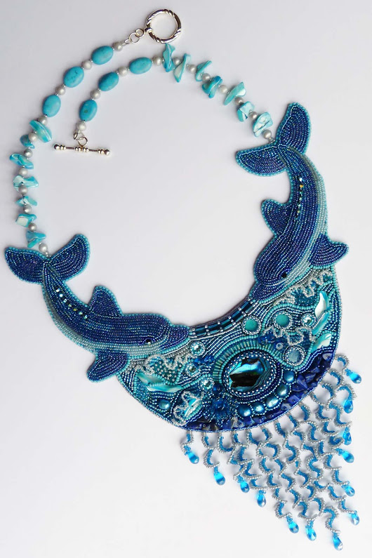 Miyuki Co. 2015 Beaded Jewelry Contest Winner: Dance Of Dolphins Necklace - IndieFashionLove.com