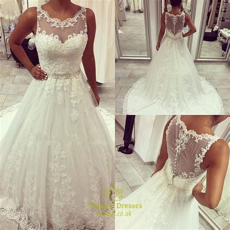Beaded Lace Applique Sheer Back Wedding Dress With Buttons