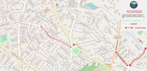 The following areas are currently closed due to Columbia Gas roadwork: Middlesex Street from Main Street...