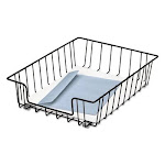 """Wire Desk Tray Organizer, 1 Section, Letter Size Files, 10"""" x 14.13"""" x 3"""", Black"""