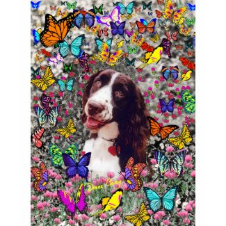 Lady in Butterflies - Brittany Spaniel shirt