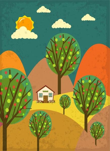 Bentang Alam Pedesaan Yang Menggambar Sketsa Digambar Tangan Warna