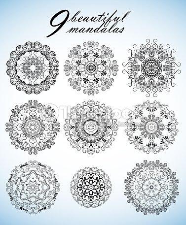 Conjunto Con Nueve Hermosos Mandalas Adornos De Vectores Para Su