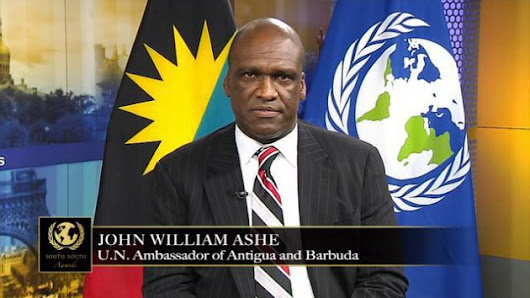 Jhon William Ashe, Presidente saliente de la Asamblea General de la ONU ...