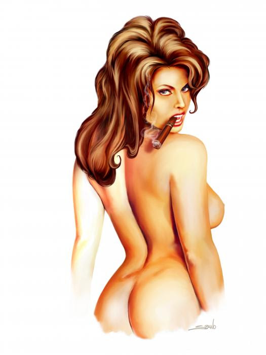 Nude Cigar Girl By Spano by Michael Spano