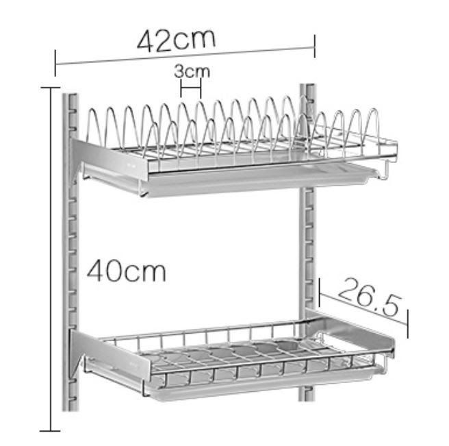 Two Tier Draining Rustless Stainless Steel Kitchen Rack With