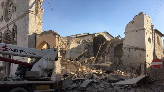 The destroyed Basilica of St Benedict in Norcia. Picture: @Physinews