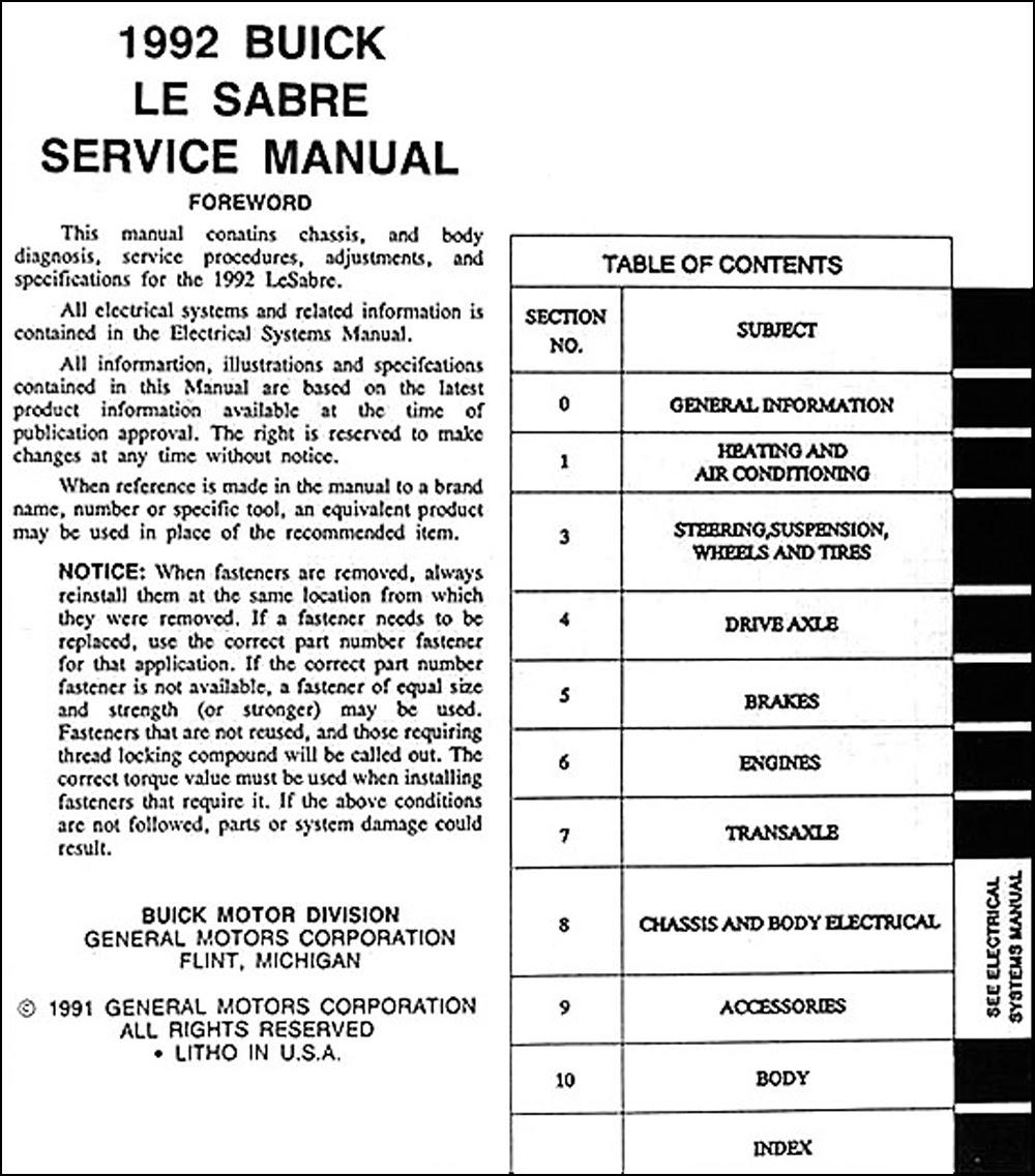1992 Buick Lesabre Repair Shop Manual Original