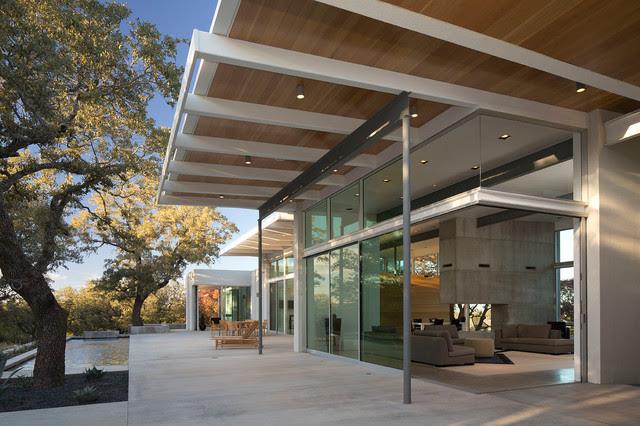 Porch with Sliding Glass Doors - contemporary - exterior - austin ...