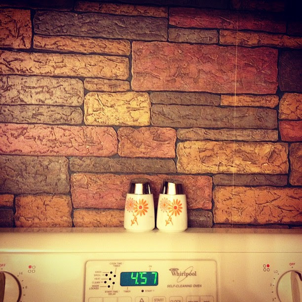 Something on the wall: our kitchen with vintage wallpaper (will be remodeled someday) 11.30.12 #fmsphotoaday