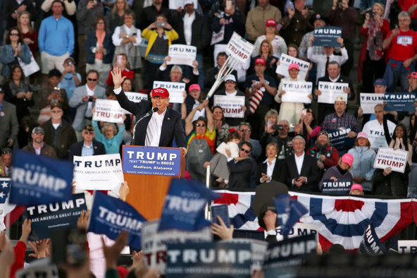 Donald J. Trump spoke at a campaign rally at Madison City Schools Stadium in Madison, Ala., on Feb. 28.