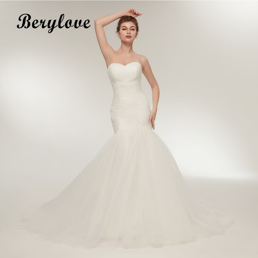 bf77e881249f Best Offers BeryLove Ivory Mermaid Wedding Dress 2018 Long Tulle Wedding  Dresses Plus Size Wedding Gowns Dresses For Wedding Robe De Mariee
