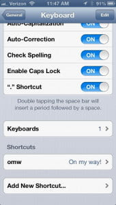 iPhone 5  shortcuts