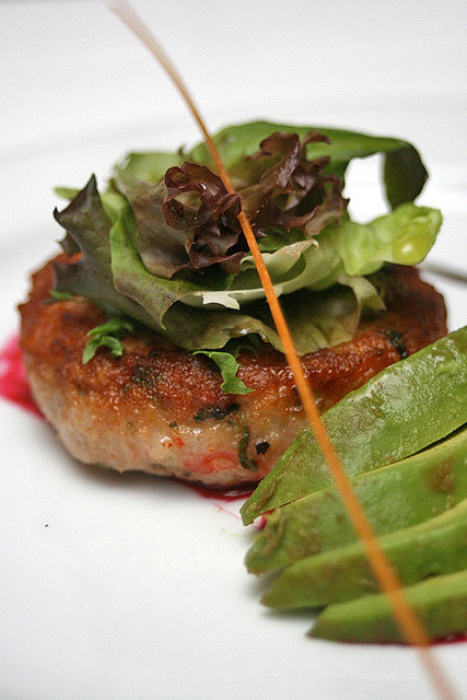 Crabmeat Cake with Avocado topped with Mesclun Salad, Beetroot Paint & Balsamic Reduction