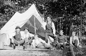 Unidentified group of men camping, Muskoka Lak...