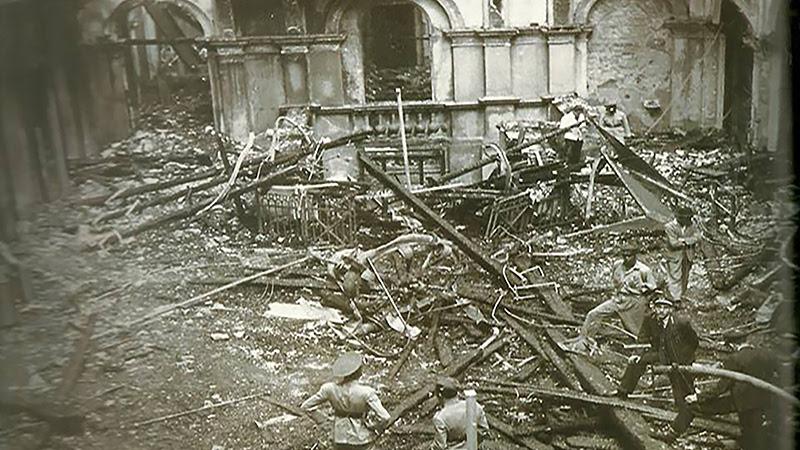 Salão da Estação da Luz após o incêndio de 1946