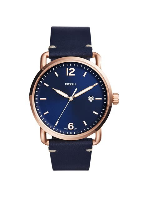 fossil mens commuter date leather strap   john