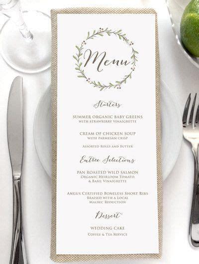 Wedding Menu Card   Rustic Wedding Menus   Dinner Menu