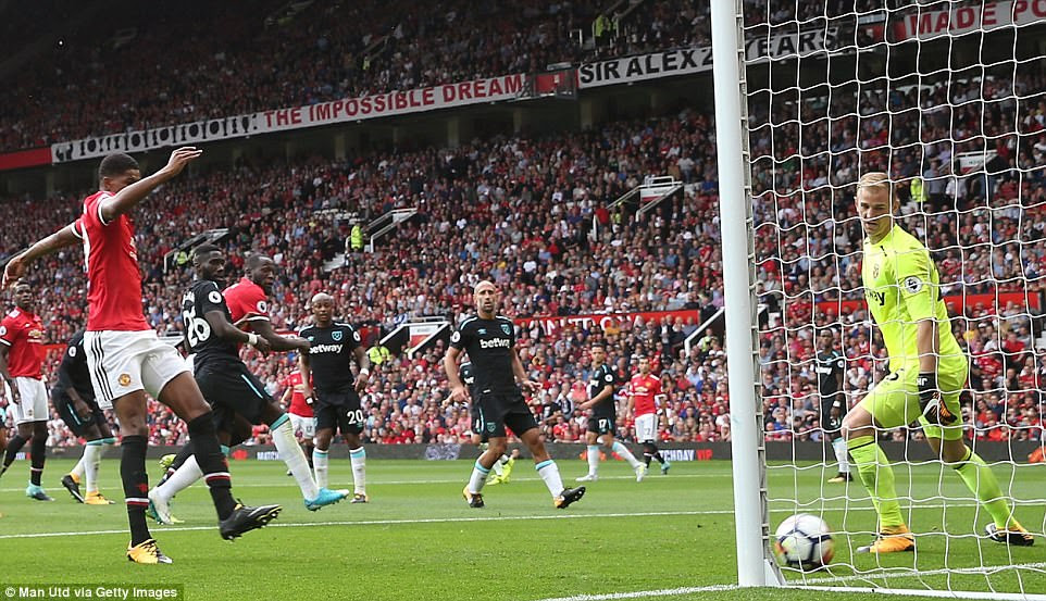 West Ham goalkeeper Hart stands still as he watches the ball bounce into the net after Lukaku guided it with his head
