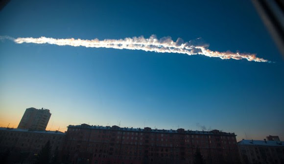 The two main smoke trails left by the Russian meteorite as it passed over the city of Chelyabinsk. Credit: AP Photo/Chelyabinsk.ru