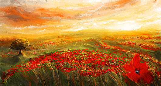 Glowing Rhapsody - Poppies Impressionist Paintings by Lourry Legarde