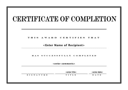 certificate of completion template 5974