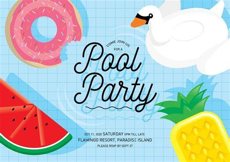 pool party invitation card template ~ Illustrations