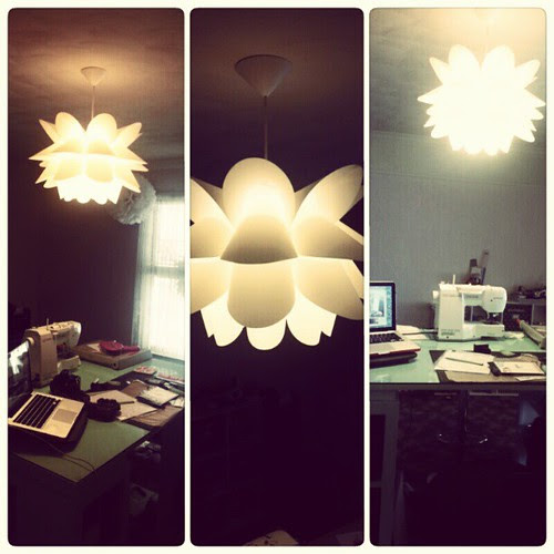 And she is up. :) #sydney #light #chandelier #craftsroom