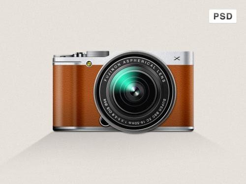 Free Fujifilm X-M1 Mirrorless Digital Camera Icon PSD at FreePSD.cc