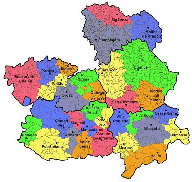 Resultado de imagen de mapa politico castilla la mancha