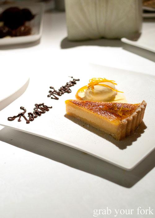 Orange tart at Buon Ricordo, Paddington