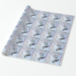 Cute grey squirrel snow scene wildlife art wrapping paper