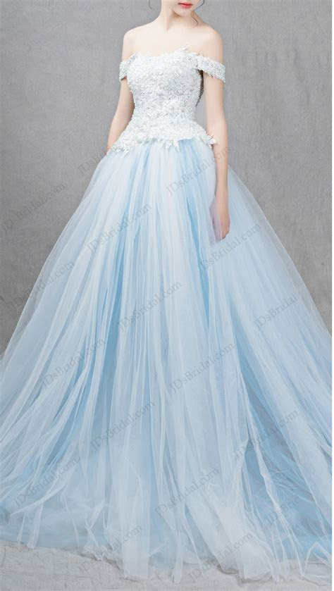 IS041 Ocean light blue colored princess ball gown wedding