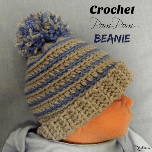 Crochet Pom Pom Beanie - CrochetN'Crafts