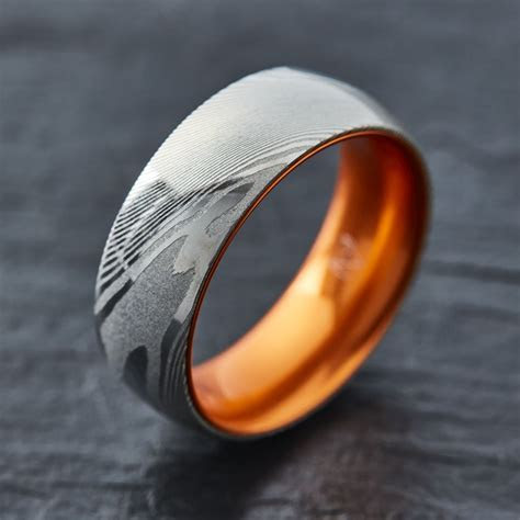 EMBR? Wood Grain Damascus Steel Ring   Resilient Orange