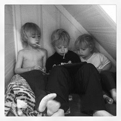 Boys making good use of Wes' under the basement step hideout!