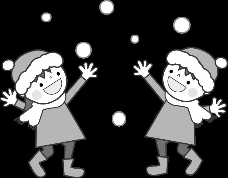 冬雪そり遊びスケート雪だるま雪合戦のイラスト無料イラスト