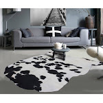 Real Leather Cowhide Brazilian Black White 5' x 8' (appx.) / Black and White