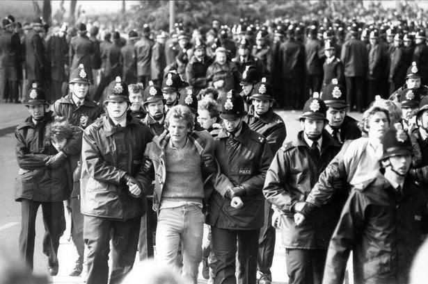 Pickets Being Led Away By Police. Industry Strikes Miners 1984