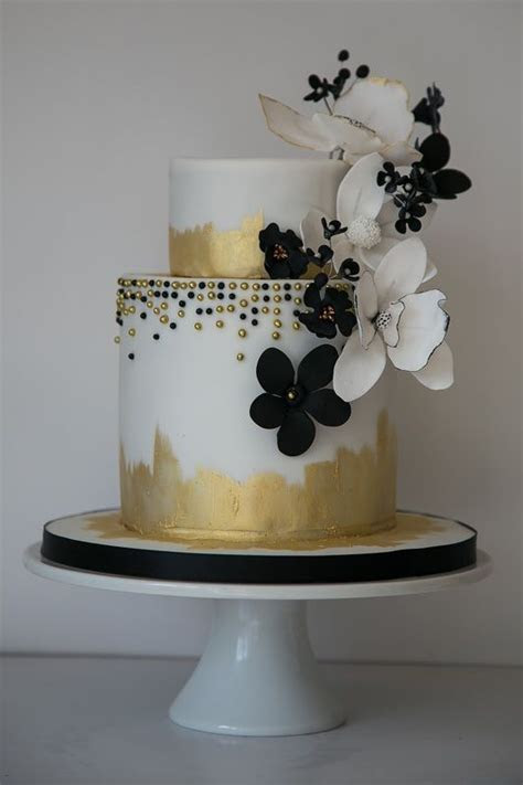 Gold and black floral 2 tier wedding cake   Go CAKE or GO