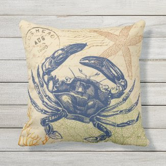 Seaside Blue Crab Collage Outdoor Pillow
