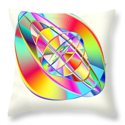 Steampunk Gyroscopic Rainbow Throw Pillow featuring the digital art Steampunk Gyroscopic Rainbow by Michael Skinner