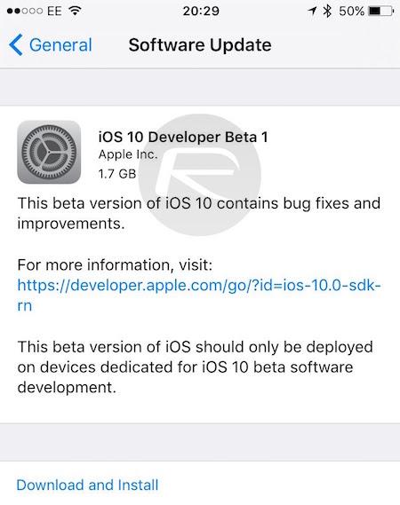 iOS 10 dev beta 1
