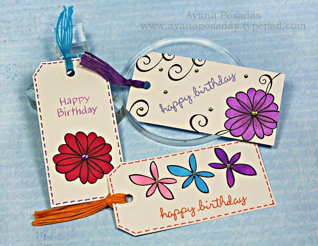 Flower Birthday Tags