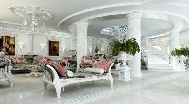 This hall is all white marble, white ornate furniture and touches of pink and old paintings.