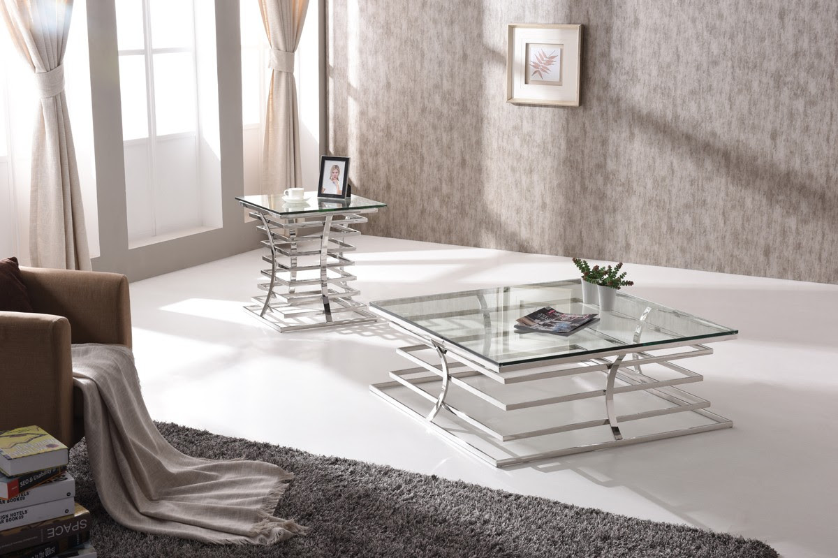 Modrest Snyder Modern Square Glass Coffee Table - Coffee ...