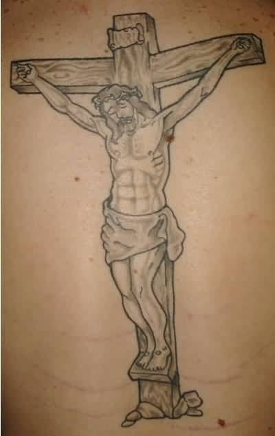 Simple Religious Jesus Cross Tattoo Design