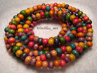 colorful wooden beads necklace claimed to be from Bali, Indonesia