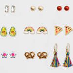 Girls' 9pk Pack Pizza and Avocado Earring Set - Cat & Jack , Women's, Gold Multicolored