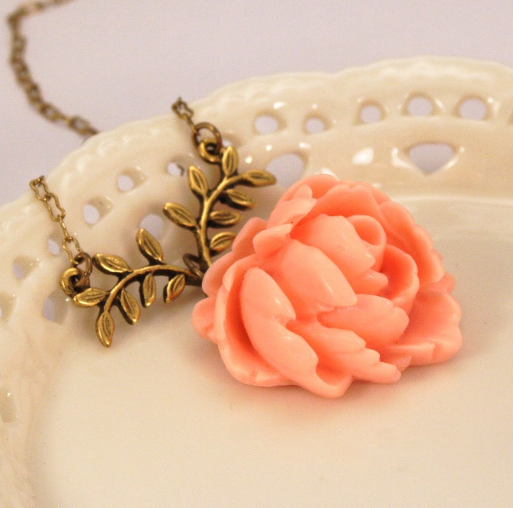 Madelaine Peach Rose Necklace